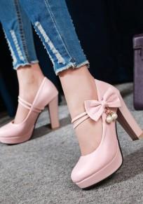 Rosa Runde Zehe Chunky mit Blockabsatz Schleife Perlen Pumps Süße Hochhackige High Heels Damen Party Schuhe