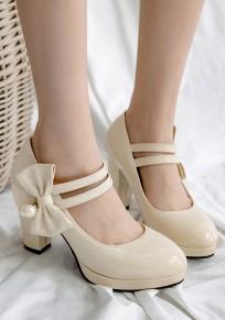 Chaussures bout rond gros morceaux noeud papillon perle douce à talons hauts beige