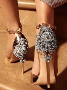 Champagne Round Toe Stiletto Rhinestone Buckle Fashion High-Heeled Sandals