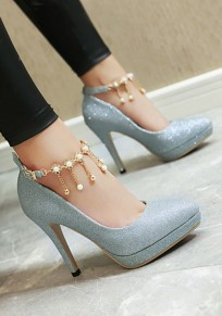 Blue Point Toe Stiletto Pearl Buckle Fashion High-Heeled Shoes