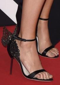 Black Round Toe Stiletto Rhinestone Buckle Fashion High-Heeled Sandals