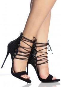 Sandali punta rotonda stiletto con tracolla A forma di tacco alto nero