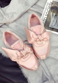 Chaussures bout rond plat noeud papillon occasionnel rose