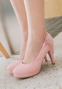 Chaussures bout rond coiffert strass décoration de mode en métal à talons hauts rose
