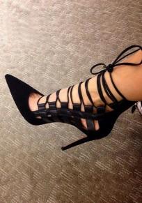 Chaussures bout pointu coiffert bracelet croisé mode à talons hauts noir