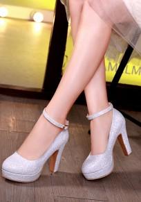 Silber Runde Zehe klobig Pailletten Schnalle Mode Schuhe mit hohen Absätzen