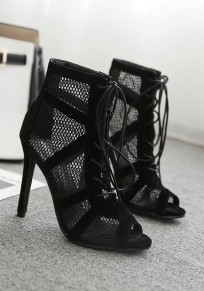 Black Round Toe Stiletto Cross Strap Cut Out Fashion Sandals