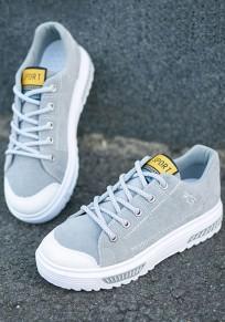 Graue runde Zehe flache Flickwerk Beiläufig Knöchel Schuhe