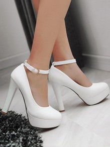 White Round Toe Chunky Buckle Fashion High-Heeled Shoes