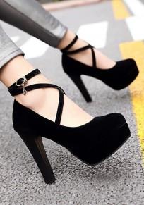 Schwarze runde Zehe klobig Cross Strap Schnalle Mode Schuhe mit hohen Absätzen