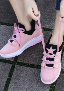 Pink Round Toe Flat Lace-up Print Casual Ankle Shoes