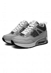 Graue runde zehe flache Spitze oben Pailletten-Beiläufige Knöchel Schuhe