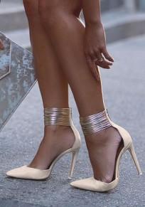 Sandalias punta de tacón aguja de tacón alto de color caqui