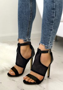 Black Round Toe Stiletto Cut Out Buckle Fashion High-Heeled Sandals