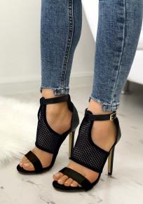 Sandales bout rond coiffert dédécoupes boucle mode à talons hauts noir