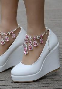 Zapatos punta redonda cuñas de diamantes de imitación de moda de tacón alto rosa