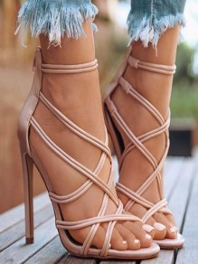 Apricot Round Toe Stiletto Fashion High-Heeled Sandals