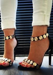 Sandalias punta redonda tobillera aguja de moda negro