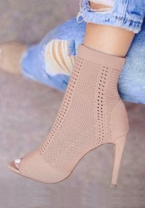 Apricot Piscine Mouth Stiletto Fashion Ankle Boots