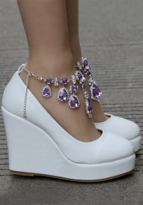 Chaussures bout rond strass chaînes mode coins violet