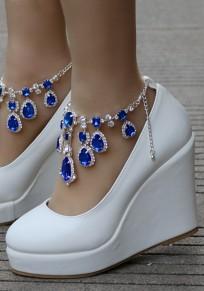 Chaussures bout rond chaînes compensées en strass bleu