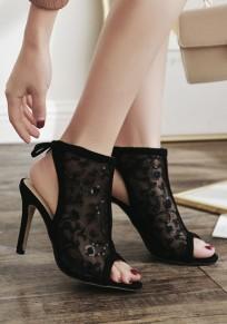 Sandales bout rond coiffert dentelle mode à talons hauts noir