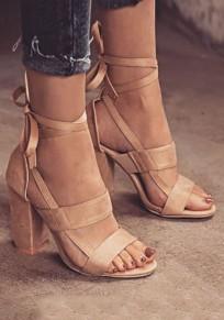 Sandales bout rond à lacets trapu mode à talons hauts beige