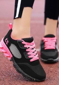 Chaussures bout rond découpess plate décontracté cheville noir-rose