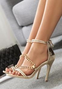 Sandalias punta redonda hebilla de cadena de aguja moda tacón alto dorado