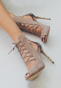 Apricot Piscine Mouth Stiletto Cut Out Patchwork Fashion High-Heeled Sandals