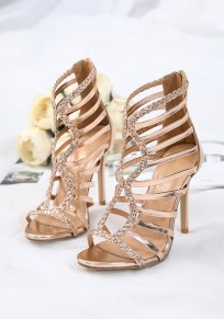 Champagne Round Toe Stiletto Cut Out Fashion High-Heeled Sandals