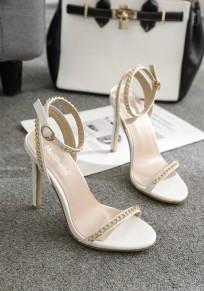Sandales bout rond coiffert chaîne boucle mode à talons hauts blanc