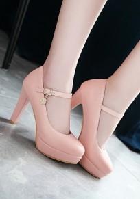 Zapatos punta redonda decoración de metal fornido moda tacón alto rosa