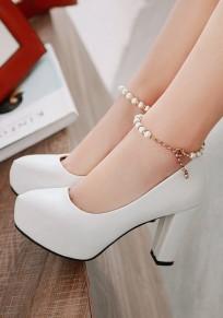 Zapatos abalorios gruesos punta redonda hebilla moda tacón alto blanco