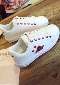 Chaussures bout rond imprimé plat décontracté cheville rouge