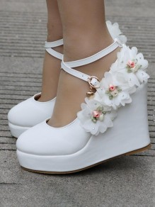 White Round Toe Flowers Sweet Wedges Shoes
