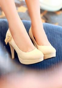 Chaussures bout rond strass coiffert mode à talons hauts beige