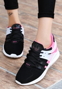 Pink And Black Round Toe Cross Strap Sweet Flats