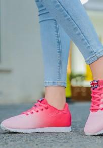 Chaussures rose framboise bout rond imprimé plat décontracté cheville