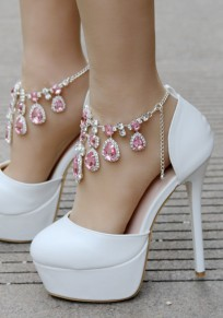 Pink Round Toe Stiletto Rhinestone Chain Sweet High-Heeled Shoes