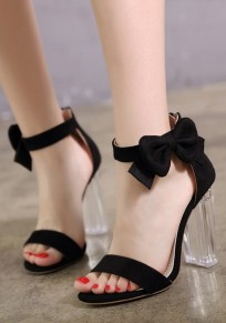 Black Round Toe Chunky Bow Buckle Fashion High-Heeled Sandals