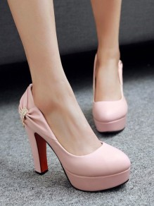Chaussures bout rond trapu strass mode à talons hauts rose