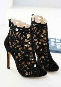 Black Piscine Mouth Stiletto Cut Out Fashion High-Heeled Sandals