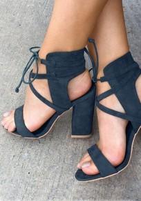 Sandales bout rond trapu à lacets à talons hauts bleu
