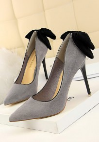 Chaussures bout pointu coiffert noeud papillon mode à talons hauts gris