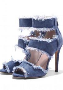 Blue Round Toe Stiletto Tassel Fashion Ankle High-Heeled Sandals