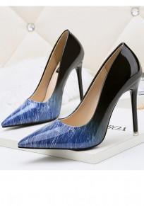 Zapatos punta de tacón aguja de tacón alto azul