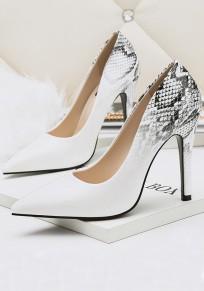 Zapatos punta de tacón de aguja moda tacón alto blanco