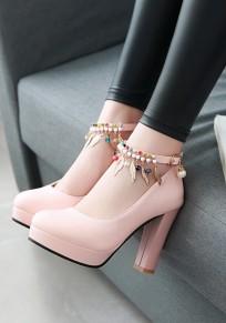 Zapatos punta redonda decoración de metal perla gruesa hebilla dulce de tacón alto rosa
