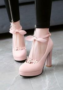 Zapatos punta redonda hebilla gruesa pajarita cadena flor dulce tacón alto rosa